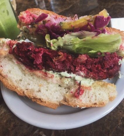 Polish Burger : Beetroot, white bean and dill in vegan brioche bun with iceberg lettuce, red onion, mayonnaise, pickled cabbage and gherkin